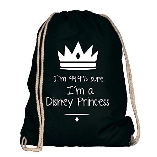 Shirtdepartment® Turnbeutel/Sportbeutel mit vielen Sprüchen | Farbe: Schwarz-weiss - I'm 99,9% sure I'm a Disney Princess | Jutebeutel | Rucksack | Gymsack | Lustige Motive | (Outfit Mulan)