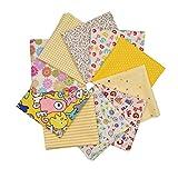 Raylinedo® 10 Teile 30 cm x 30 cm Print Baumwolle Grün Serie Stoff Bundle Squares Patchwork DIY Nähen Scrapbooking Quilten Muster Artcraft gelb