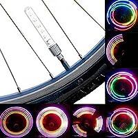 Calli 2 piezas 5 LED 8 intermitentes válvula de bicicleta de la bici ligera luz de la rueda