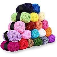 Hilo de ganchillo - 20 piezas de hilo de tejer crochet - Hilado de lana de color surtido - Lana de crochet de algodón para suéteres de punto, chaquetas de punto, chaquetas, mantas y más