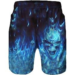 DOGZI Hombre pantalones cortos de playa estampado natación casual verano secado rápido