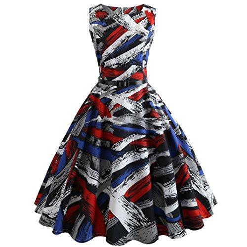BakeLIN Damen Kleid 50er Jahre Rockabilly Vintage Polka Dots Blumendruck Bodycon Ärmellos Casual Abend Prom Swing Kleid Röcke Petticoat (S~XXL) (XL, 95 Rot) (Karneval Kleid)