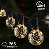 GlobaLink Catena Luminosa di Giardino Luci Esterne a Corda 11.7M 30+1 Lampadine LEDs G40 Impermeabile IP65 Illuminazioni Decorative per Natale Nozze Matrimonio Casa Giardino Feste Estern-Bianco Caldo