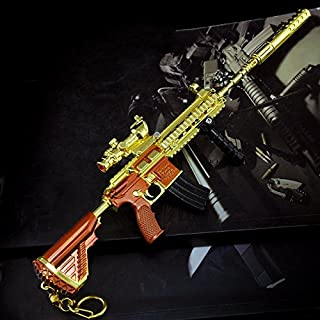 mankecheng Games Eat Chicken Metal 1/6 Golden AKM Gun Rifle Model Action Figure Arts Toys Collection Keychain Gift