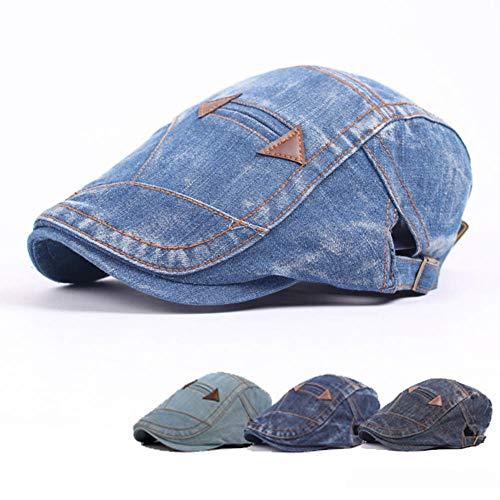 tailor13me Männer Frauen Vintage Washed Jeans Hut Outdoor Sports Denim Baskenmütze Sonnenblende Flat Cap verstellbar, Sonnenblende, angenehm zu tragen Blau + schwarz