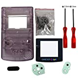 eJiasu Vollständige Ersatzteile Gehäuse Shell Pack Ersatz für Nintendo GBC Gameboy Farbe (Transparente Lila Gehäuse mit Linse und Schraubendreher)