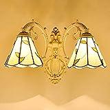 DSJ Pastorale Wandleuchte Jane europäischen Wohnzimmer Lampe Schlafzimmer Nachttischlampe Kreative mediterrane Beleuchtung,Milch Bai-Doppelkopf