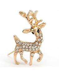 * Reino Unido * Navidad tono dorado reno Rudolph broche Pin Rhinestone Antler regalo bisutería secreto Santa