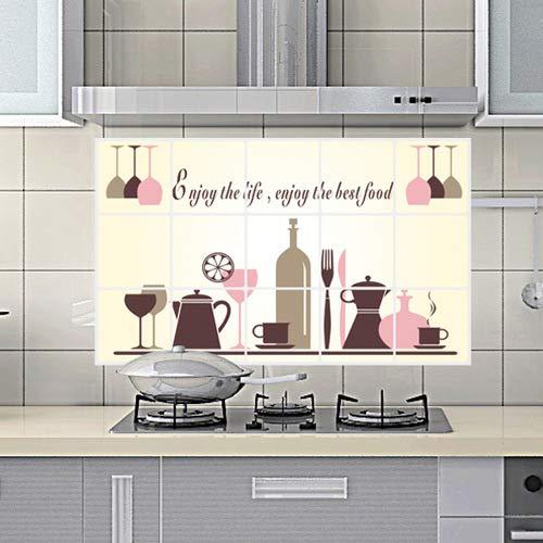 ahjs456 Großhandel Anti-Zigaretten-Aufkleber Roten Glas Ölsicheren Aufkleber Küchenfliesen Aluminium Anti-öl-Aufkleber 45 * 75cm (Großhandel Rote Gläser)