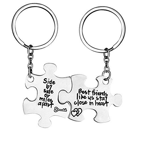 Fengteng Llavero de plata puzzle con inscripción lado a lado o millas de distancia mejor amigo Mejor amigo llavero joyas