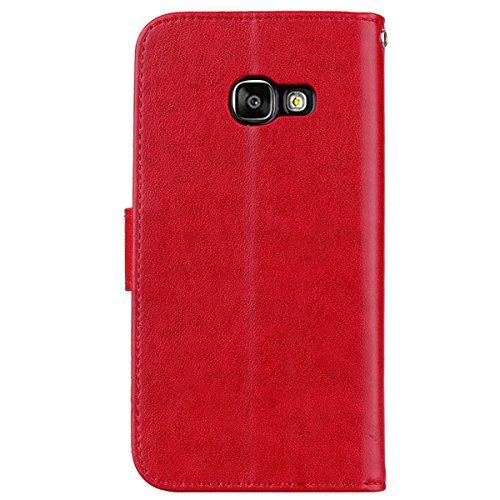 Coque Samsung A3 (2017) Anfire Fleur Motif Peint Mode Coque PU Cuir pour Galaxy A3 (2017) Etui Case Protection Portefeuille Rabat Étui Coque Housse pour Samsung Galaxy A3 (2017) SM - A320 (4.7 pouces) Rouge