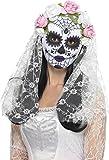 Smiffys Déguisement Femme, Masque de mariée Jour des morts, Visage complet, Blanc, avec roses et voile, 44899
