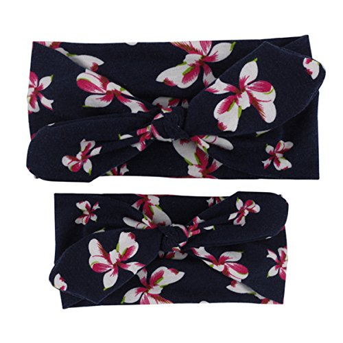 r und Tochter elastische Blume gedruckt Stirnband DIY Kaninchenohren neue Mode Headbands Haar Band Kopftuch (Blume Stirnbänder Diy)