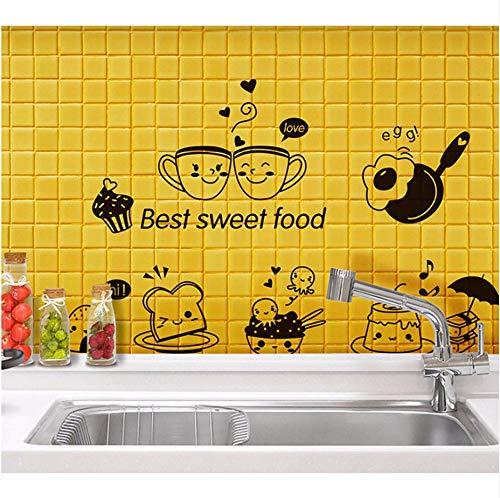 Xzfddn Cartoon Best Sweet Food Wand Kunst Wandbild Dekor Küche Tile Cabinet Kühlschrank Aufkleber Poster Grafiken Kaffee Brot Tapete