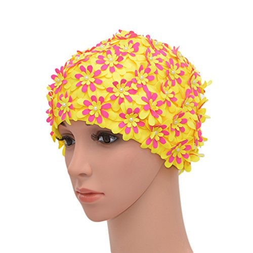 medifier Badekappe mit Blumenmuster, Retro-Stil, Badehaube für Damen, gelb