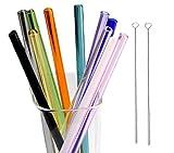 Trinkhalme mit Reinigungsbürsten, 8 mm Durchmesser, 11 Farben BIPY Trinkhalm aus Borosilikat, 20 cm lang, gerade, wiede