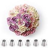 Boquillas para decoración de cupcakes, boquillas de acero inoxidable, 6 unidades