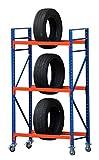 Felgenregal fahrbar Reifenkarre Reifenwagen Reifenregal Felgenwagen 500kg Fachlast B120xH200xT50cm