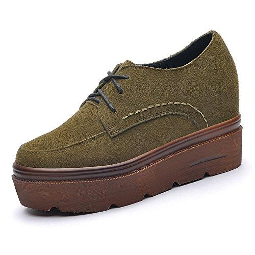 Damen Flache Plateau Schuhe mit Gummi Sohle Weiche Wildleder Schnürschuhe Grün