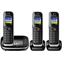 Panasonic KX-TGJ323EB Trio Handset Cordless Home Phone with Nuisance Call Blocker and LCD Colour Display - Black