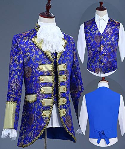Deluxe Victorian King Prince Kostüm für Erwachsene Männer Top Weste Jacke Mantel Blazer Anzug Bühne Theater Cosplay Outfit Hosen Jabot Krawatte,C,XS