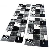 PHC Bettumrandung Läufer Teppich Modern Karo Schwarz Grau Weiss Läuferset 3 Tlg, Grösse:2mal 80x150 1mal 80x300