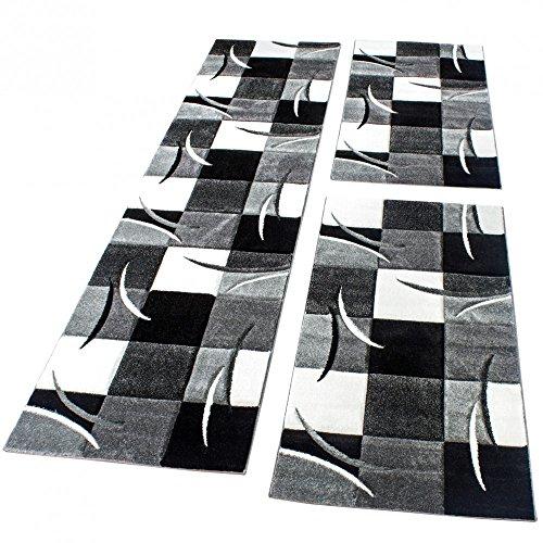 ung Läufer Teppich Modern Karo Schwarz Grau Weiss Läuferset 3 TLG, Grösse:2mal 60x110 1mal 80x300 ()