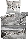 Heckett & Lane Mako-Satinbettwäsche Withby 155x220 cm 80x80 Farbe taupe Strand Möve