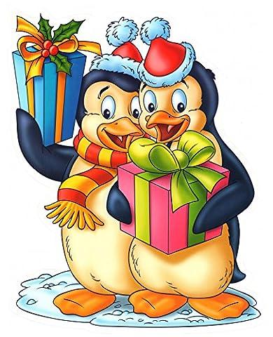 Fensterbild Pinguine mit Geschenkpaketen Fenstersticker Fensterdekoration Weihnachten