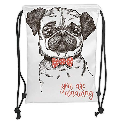 DANCENLI Drawstring Sack Backpacks Bags,Pug,Portrait of Dog Cartoon Style Bow Tie on a Pug Pet Fun Comedic Image Fashionable Animal,Black Red Soft Satin,5 Liter Capacity,Adjustable String Closur