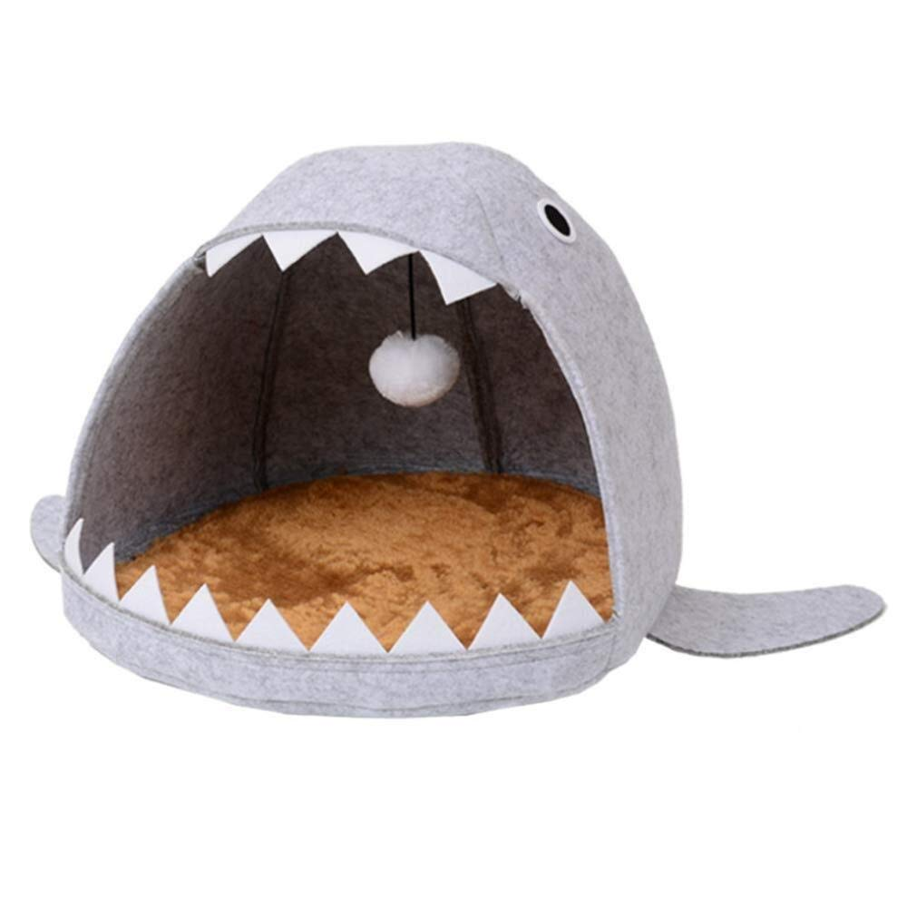 MMD-doggie kennel Comfortable Shark Pet Cat House, Available In All Seasons, Washable, Oxford Cat Litter soft