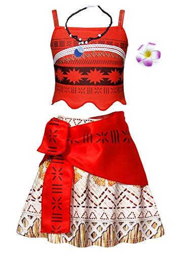 Amzbarley moana costume vestito bambina ragazza carnevale cosplay abito ragazze festa di fantasia compleanno partito halloween cerimonia senza maniche abiti vestire