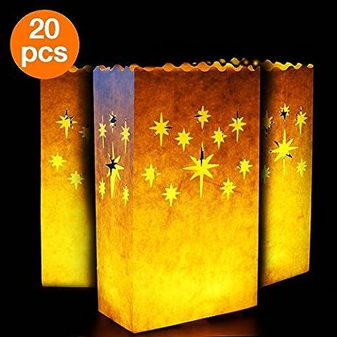 Cookey Bougies Luminaires, 20x Sacs de Bougie Tealight, Coton Anti-feu Réutilisable et Réutilisable, Parfait pour la Maison Décoration Extérieure, Noël, Mariage, Réception, Vacances, Fête et événement