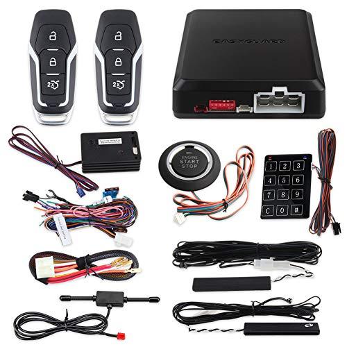 EASYGUARD EC002-FO2-NS Smart Key Passiv Keyless Entry Kits mit Druckknopf Remote Start Passwort Tastenfeld Eingabe DC12V (Auto-remote-starter-kit)