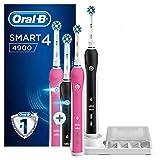 Oral-B Smart 4 4900 Spazzolini Elettrici Ricaricabili, Confezione da 2 spazzolini, Rosa e Nero, 2 Testine di Ricambio CrossAction