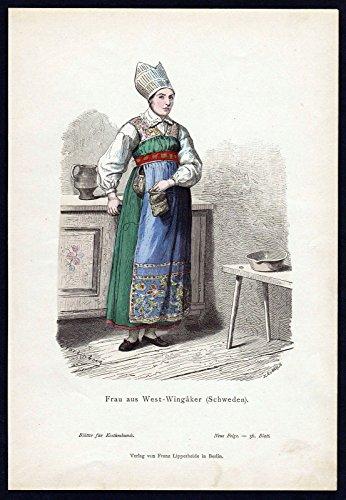 Grafik Vingaker Schweden Frau Sweden Trachten Tracht costume original
