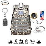 Mochila táctica militar TOMOO, nivel 3, 35 L, para asalto, mochila impermeable, para deportes al aire libre, para caza, camping, senderismo con carga USB, Gray lines