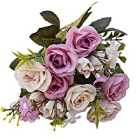 Amesii 1 Bouquet 15 Heads European Style Artificial Royal Rose Home Room Decor Flowers - Purple