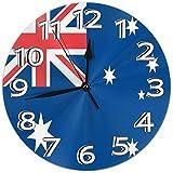 Mailine Wanduhr Australien Flagge Runde Uhr Silent Home Decor Wanduhr Arabische Ziffern Indoor Clock