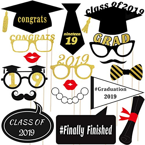Luoem 2019 Graduation Photo Booth Props 18 Pcs Graduation Photo Booth Props Glitter Graduation Party Supply
