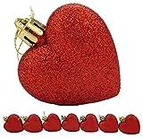 Christmas Concepts® Confezione da 8-60mm Baubles a forma di cuore - Glitter Decorated Baubles (Red)