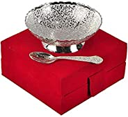 J.R. Handicraft World German Silver Floral Bowl with Box - 2 Pieces, Blue