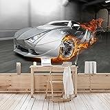 Apalis Kindertapeten Vliestapeten Supercar in Flammen Fototapete Breit | Vlies Tapete Wandtapete Wandbild Foto 3D Fototapete für Schlafzimmer Wohnzimmer Küche | grau, 95021