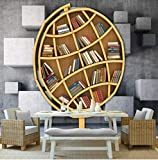 WH-PORP 3d Fototapete Wandbild Tapete 3D Kunst Bücherregal Bibliothek TV Hintergrund Wand für Arbeitszimmer-450cmX300cm