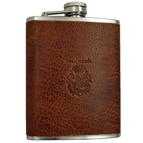 Flachmann Taschenflasche AMUNDSEN Edelstahl-braunes Leder BARON of MALTZAHN