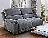 lifestyle4living 2-Sitzer Sofa in grau, Microfaser | Couch mit praktischer Relaxfunktion, verstellbares Funktionssofa mit manueller Starthilfe zum Relaxen und Genießen