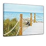 Kunstdruck - Schöner Weg zum Strand - Bild auf Leinwand - 50x40 cm - Leinwandbilder - Urlaub, Sonne & Meer - Sommer - Ostsee - Nordsee - Dünen