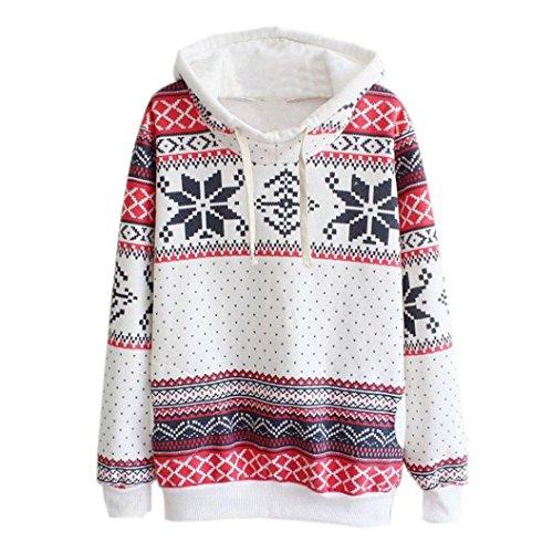 TWIFER Weihnachten Damen Reißverschluss Hoodie Punkte Print Kapuzen Sweatshirt Pullover Bluse (S, Weiß)