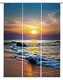 Home Fashion Digitaldruck Schiebevorhang 3er Set, Stoff, blau, 245 x 60 x 245 cm, 3-Einheiten