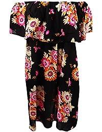 b174aaeb6fc Raviya Womens Floral Print Off-The-Shoulder Dress Swim Cover-up Black S